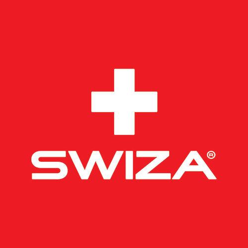 swiza logo scritta bianca sfondo rosso croce bianca